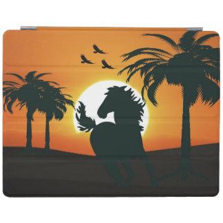 Eine PferdeSilhouette am Sonnenuntergang iPad Hülle