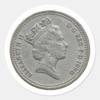 Eine Pfundmünze Runder Aufkleber