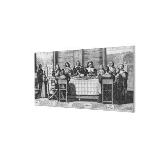 Eine protestierende Familie, welche die Mahlzeit s Leinwand Drucke