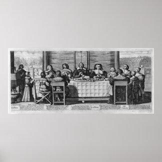 Eine protestierende Familie, welche die Mahlzeit s Poster