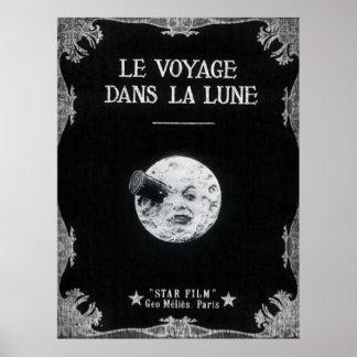 Eine Reise zum Mond-Vintagen Retro französischen Poster