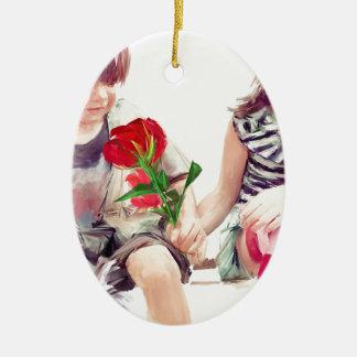 eine Rose ein Welpe und ein Kuss Ovales Keramik Ornament