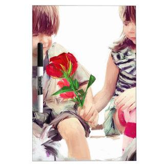 eine Rose ein Welpe und ein Kuss Trockenlöschtafel