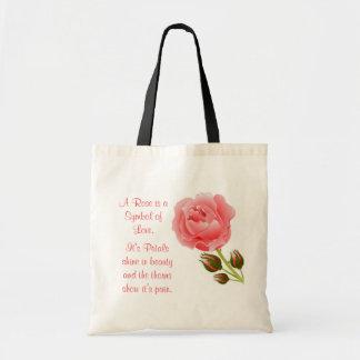 Eine Rose ist das Symbol der Tasche