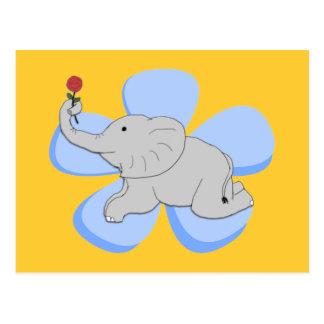 Eine Rose von einer Baby-Elefant-Postkarte Postkarte