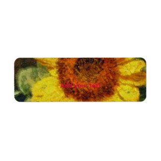 Eine schöne abstrakte Sonnenblume Rücksende Aufkleber