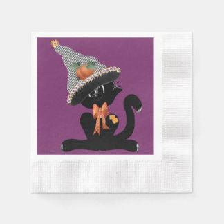 Eine schwarze Katze Purrrrfect Halloween Papierservietten