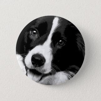 Eine Schwarzweiss-Border-Collie Runder Button 5,1 Cm