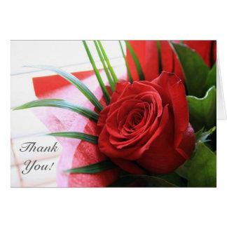 Eine Single-Rote Rose, danke Anmerkungs-Karte Karte