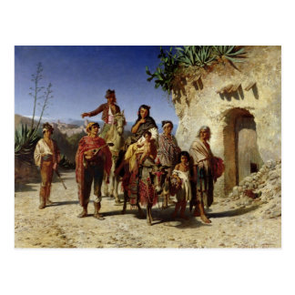 Eine Sinti und Roma-Familie auf der Straße, c.1861 Postkarte