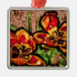 Eine Skizze des Tulipa-Duos Quadratisches Silberfarbenes Ornament