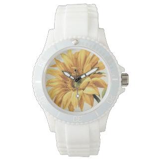 Eine Sonnenblume in voller Blüte Uhr