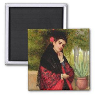 Eine spanische Schönheit, 1872 (Öl auf Leinwand) Quadratischer Magnet