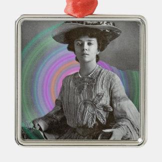 Eine starke Frau Vintage Quadratisches Silberfarbenes Ornament