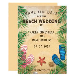 Eine Strand-Hochzeits-Save the Date Mitteilung Karte