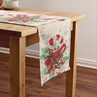 Eine Vintage frohe Weihnacht-Zuckerstange Kurzer Tischläufer