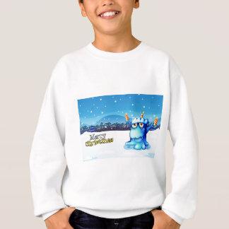 Eine Weihnachtskarte mit einem blaues Monster Sweatshirt