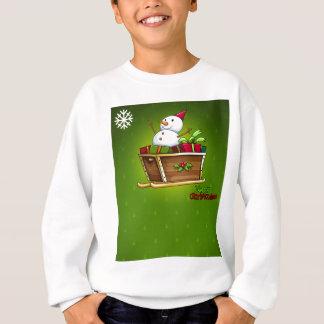 Eine Weihnachtskarte mit einem Schneemann über dem Sweatshirt