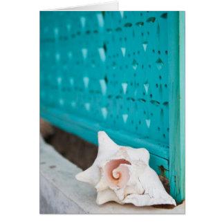 Eine weiße und rosa jamaikanische SeeMuschel sitzt Karte