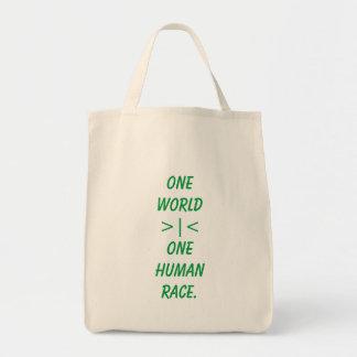 Eine Welt, eine Taschentasche der menschlichen Tragetasche