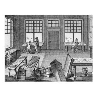 Eine Werkstatt Möbel inlayers, vom 'Encyclop Postkarte