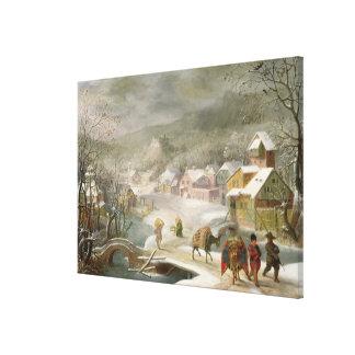 Eine Winter-Landschaft mit Reisenden auf einem Weg Gespannter Galerie Druck