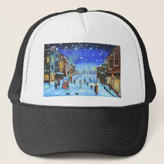 Eine Winter-Straßenszene Weihnachtscarols Scrooge Truckerkappe