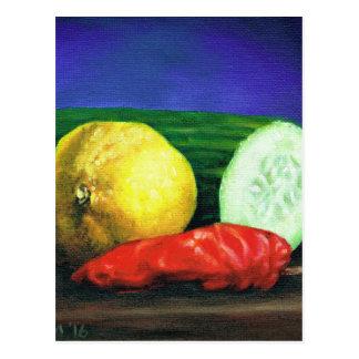 Eine Zitrone und eine Gurke Postkarte