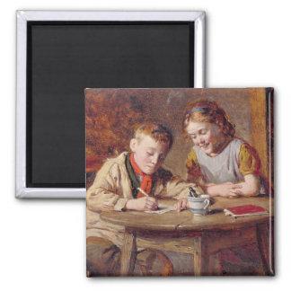 Einen Brief (Öl auf Platte) schreiben Quadratischer Magnet