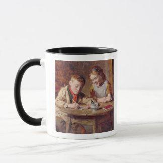 Einen Brief (Öl auf Platte) schreiben Tasse