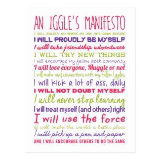 Eines Iggles Manifest-Postkarte Postkarte