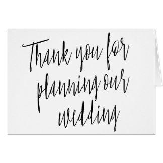"""Einfach """"danke für die Planung unserer Hochzeit """" Karte"""