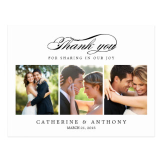 Einfach elegante Hochzeit danken Ihnen, - Weiß zu Postkarte
