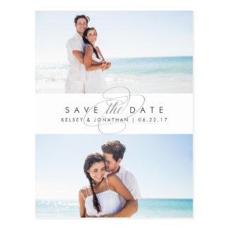 Einfach elegantes Foto zwei Save the Date Postkarte