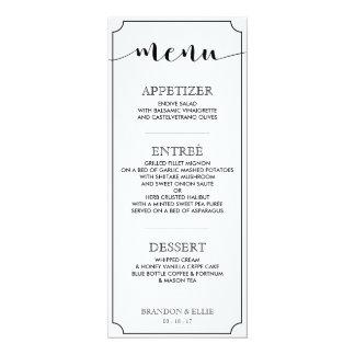 Einfach elegantes Kalligraphie-Hochzeits-Menü 10,2 X 23,5 Cm Einladungskarte
