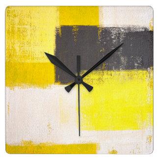 """""""Einfach moderne"""" graue und gelbe abstrakte Uhren"""