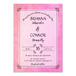 Simply Pink Elegant Casual Wedding Invitation