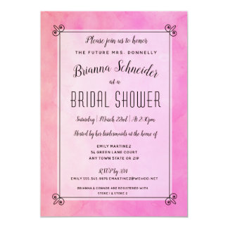 Simply Pink Watercolor Bridal Shower Invitation