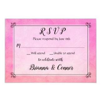 Einfach rosa Watercolor-Hochzeit UAWG Warteantwort Karte