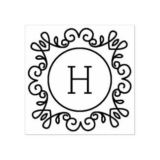 Einfach verziertes Monogramm Gummistempel