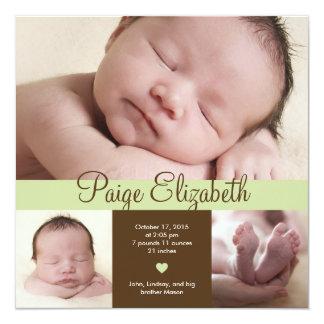 Einfach wertvolle Geburts-Mitteilung - Grün Individuelle Einladung