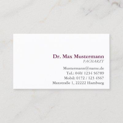 Irgendein Farbmedizinisches Berufliches Arzt Visitenkarte