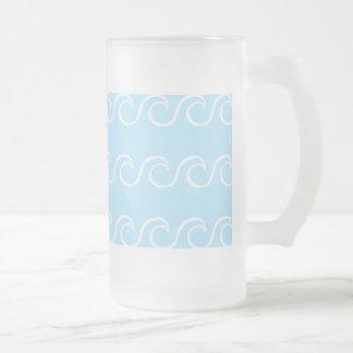 Einfache Blau-Wellen Mattglas Bierglas
