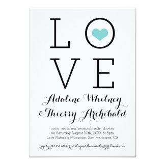 Einfache blaue Liebe-Baby-Dusche laden ein 12,7 X 17,8 Cm Einladungskarte