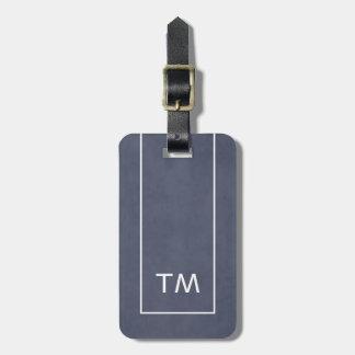 Einfache blaue weiße Linien mutiges Monogramm Gepäckanhänger
