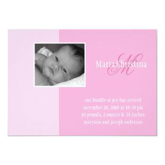 Einfache Block-Geburts-Mitteilung (Rosa) 12,7 X 17,8 Cm Einladungskarte