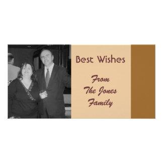 Einfache braune beste Wünsche Foto Karten Vorlage