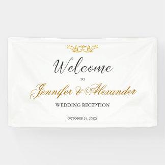 Einfache editable weißes Goldwillkommenshochzeit Banner