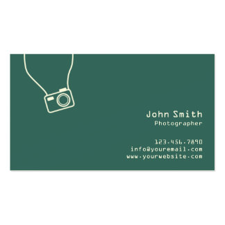 Einfache einfache grüne Fotograf-Visitenkarte Visitenkarten