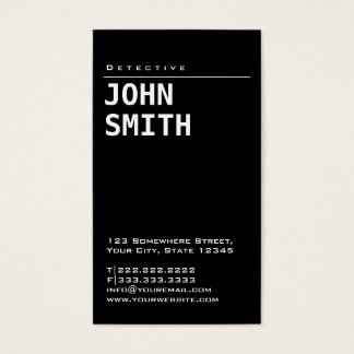 Einfache einfache schwarze Detektiv-Visitenkarte Visitenkarte